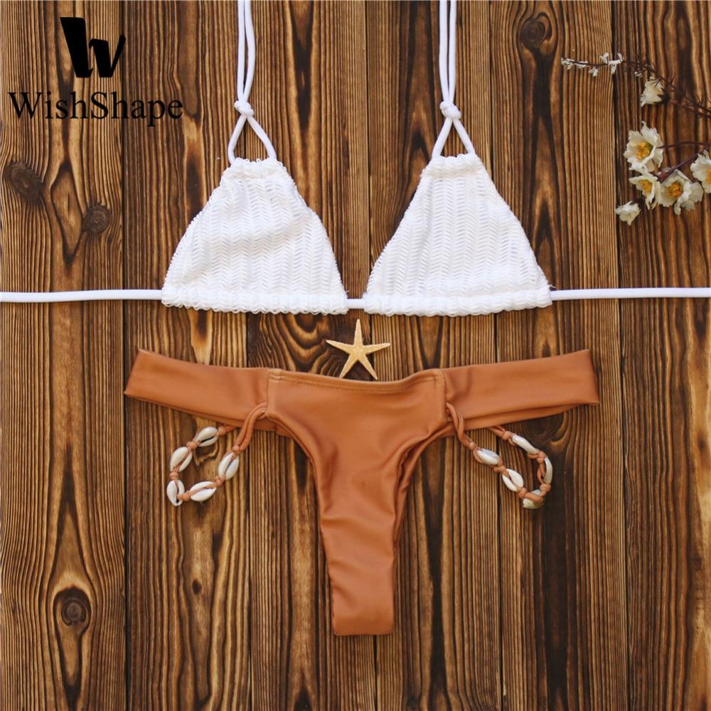 все цены на Sexy Crochet Brazilian Bikinis Thong Women Swimwear Push Up Female Low Waist Bikini Set Women Swimsuit Beach Wear Bathing Suit