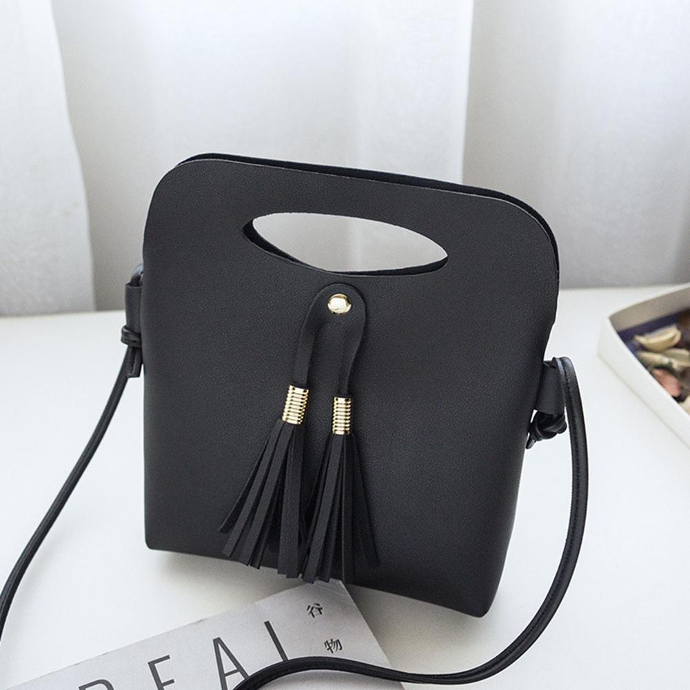Vintage Tassels Leather Women Bucket Shoulder Bag Solid Color Handle Thin Strap Crossbody Bags For Women Small Handbags shoulder bag
