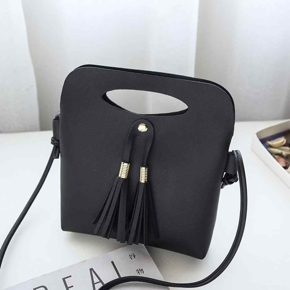 83d0a4aee1 Vintage Tassels Leather Women Bucket Shoulder Bag Solid Color Handle Thin  Strap Crossbody Bags For Women