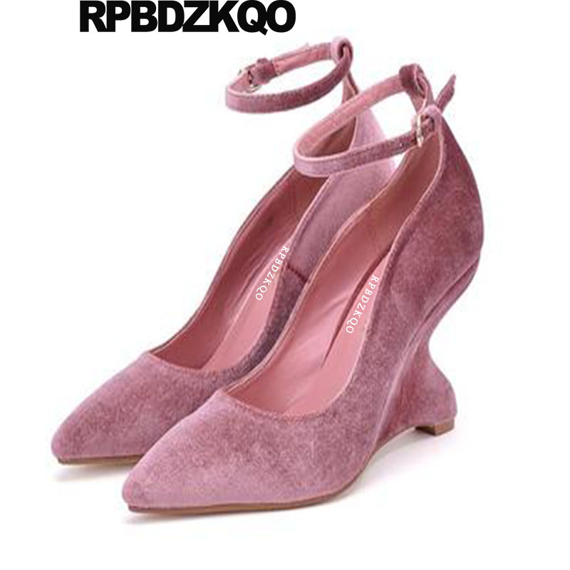 f697ae32d91 US $58.32 36% OFF|Novelty Designer Women Luxury Shoes Strange Ankle Strap  Pointed Toe Wedge 3 Inch High Heels Pink Suede Size 4 34 Pumps Evening-in  ...