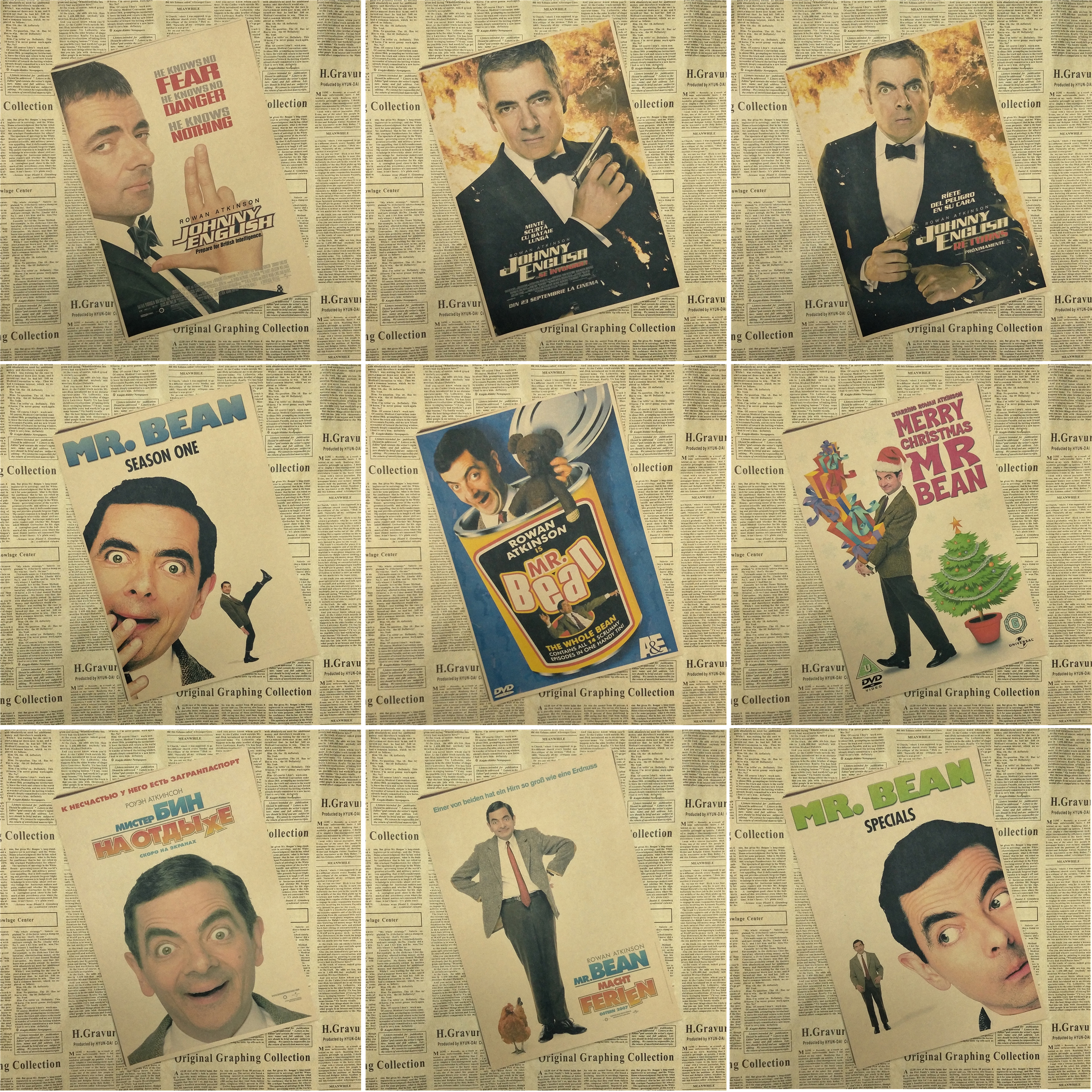 Mr. Bean core Hollywood Kraft Poster Decoration Retro Posters Home Decor Art Painting Pi ...