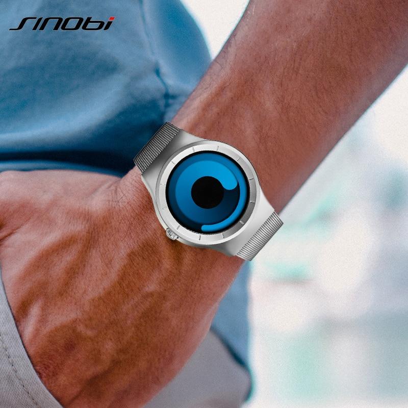 Sinobi merk creatieve sport quartz horloge heren roestvrij stalen band herenhorloges 2019 mode rotatie klok relogio masculino