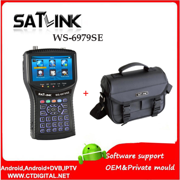 Original Satlink WS-6979SE DVB-S2 DVB-T2 MPEG4 HD COMBO Spectrum Satellite Meter Finder satlink ws6979se meter VS WS-6979 satlink ws 6979se satellite finder meter 4 3 inch display screen dvb s s2 dvb t2 mpeg4 hd combo ws6979 with big black bag