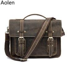 Envío Gratis Hight Quality Brown 100% Cuero Genuino Hombres Cartera Maletín Portátil Messenger Bag Bolso