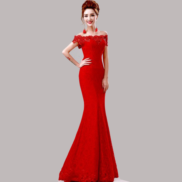 fd23d9ba8 2017 off the Shoulder Long Mermaid Beaded Lace Burgundy Evening Dress Lace  up Back Sexy Evening Gown Robe De Soiree-in Evening Dresses from Weddings  ...