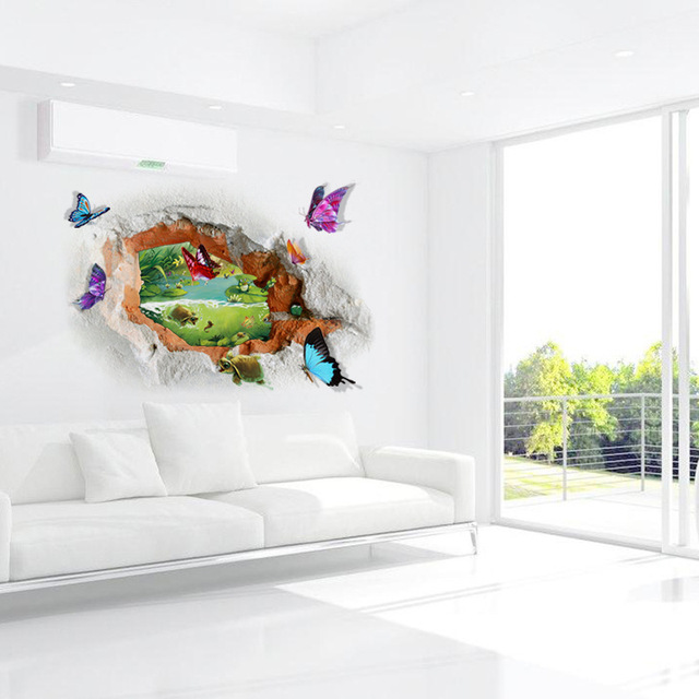 3D Hole View Butterfly Wall Stickers PVC Wall Decals/Adhesive Beautiful  Pond Wallpaper Door Vinyl