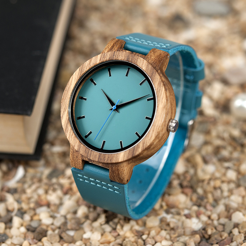 BOBO BIRD Men Zebra Wood Watches relojes hombre Quartz Wristwatches Male Leather Strap in Gifts Drop ship Turquoise blue