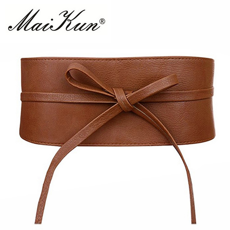 Boho Bälte för kvinnor Bowknot Faux Läder Wrap Around Obi Style Cinch Midjeband Svart Cummerbund Brown Women Belt