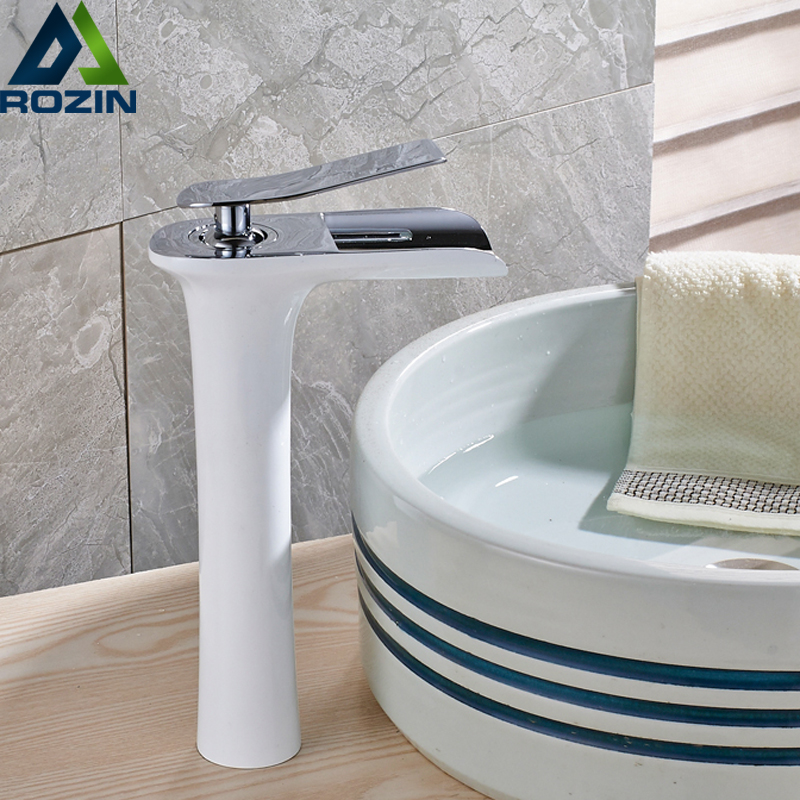 Countertop White Painting Basin Faucet Vessel Sinks Mixer Vanity Tap Waterfall Spout Brass Bathroom Hot and Cold Taps pastoralism and agriculture pennar basin india