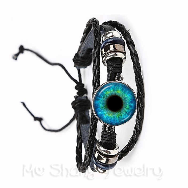 Hitam/Coklat Kulit Gelang 20 Mm Kaca Dome Hitam Hijau Mata Kucing Bangle Mata Jahat Gelang Dragon Eye Perhiasan grosir