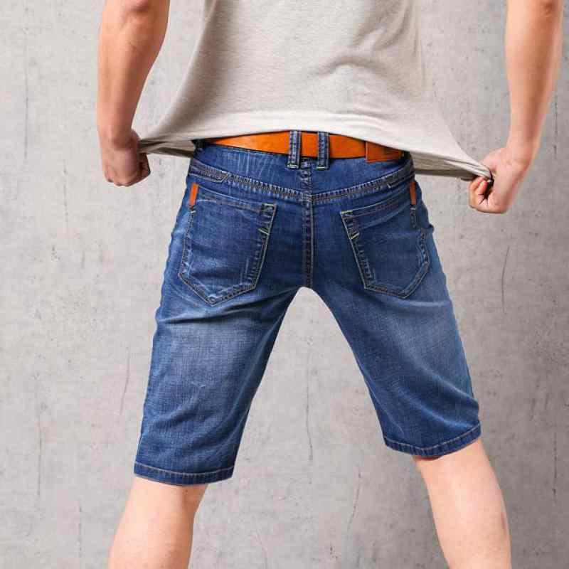 2019 marka mężczyzna lato odcinek cienkie jakości Denim Jeans męskie krótkie mężczyźni niebieski Denim szorty dżinsowe spodnie duży rozmiar 40 42 nowy
