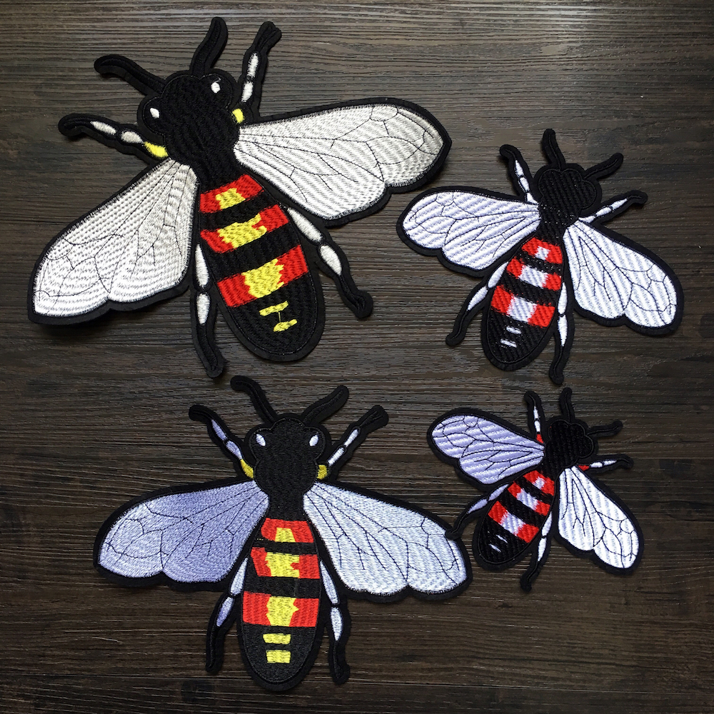 Pcs embroidered bee patches for clothing diy sew on