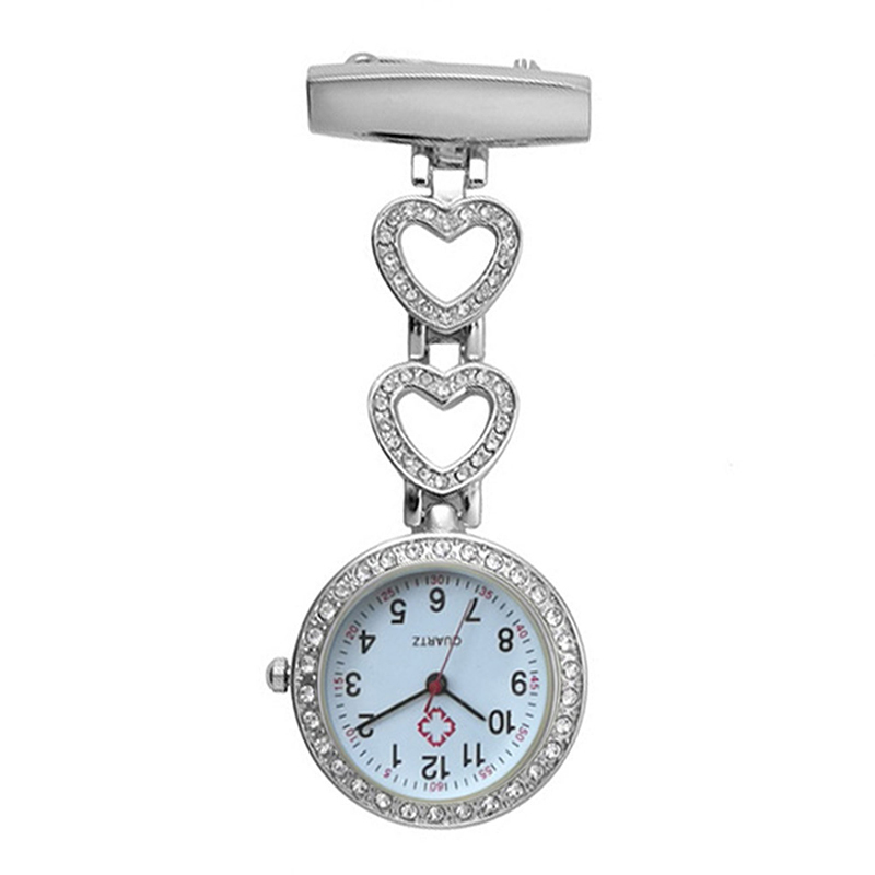 Fashion Women Pocket Watch Clip-on Heart/Five-pointed Star Pendant Hang Quartz Clock For Medical Doctor Nurse Watches NFE99