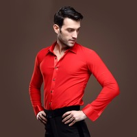 New Men Ballroom Dance Tops Red/Black/White Latin Shirt Clothing For Dance Cha Cha/Rumba/Samba/Jazz Dancewear Top