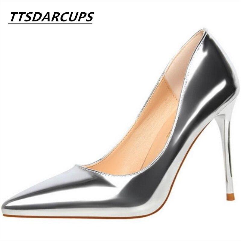 Classic European style Fashion simplicity Fine heel high 9.5CM Metallic sense Shallow tip pump Thin sexy Nightclub Women's shoes sense and sensibility