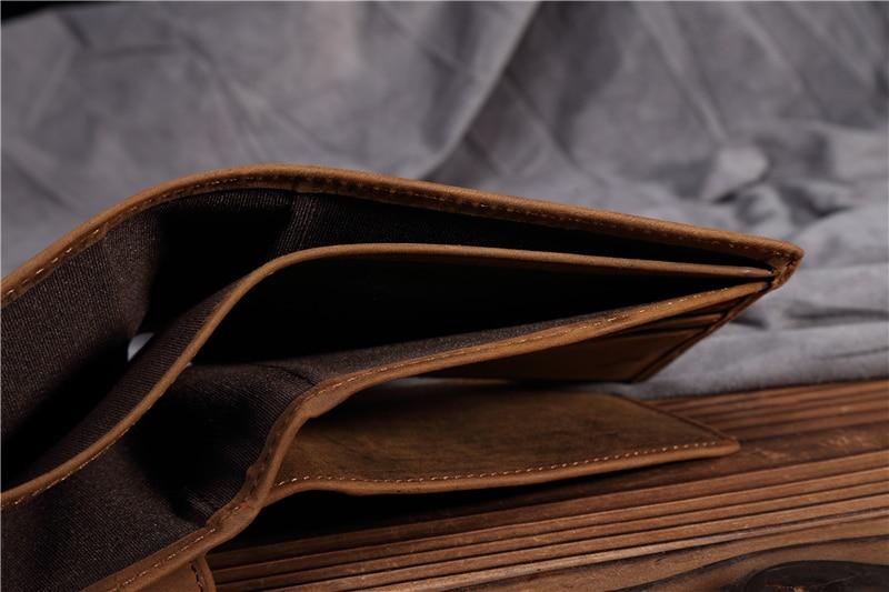 40717159f50f NEWEEKEN 199 Rétro Cuir Véritable de Vache Crazy Cheval Court Mince légère  Cash Money Carte Photo Porte-Monnaie Portefeuille Titulaire pour hommes