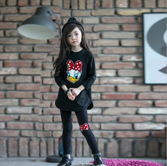 2017 New Childrens Clothing Set Casual Cartoon Girls Clothes Long Sleeve Spring Autumn Kids Suits for 3 4 5 6 7 8 9 10 Year Girl