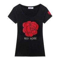 Marca de Moda Con Lentejuelas Rhinestone de Impresión mujeres de la camiseta 2017 algodón tamaño grande de las mujeres del diamante camiseta ocasional mujeres top tees 1750