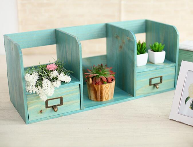 1 PC Zakka épicerie en bois tiroir armoire bureau livre organisateur décoration de la maison en bois boîte de rangement NM 009 - 4
