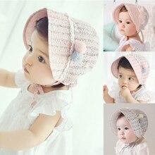 Весенний летний для новорожденных шляпа для бант для девочки принцесса полый ребенок девочки шляпа от солнца шляпа кружева Beanie хлопок дети цветок cap Muts