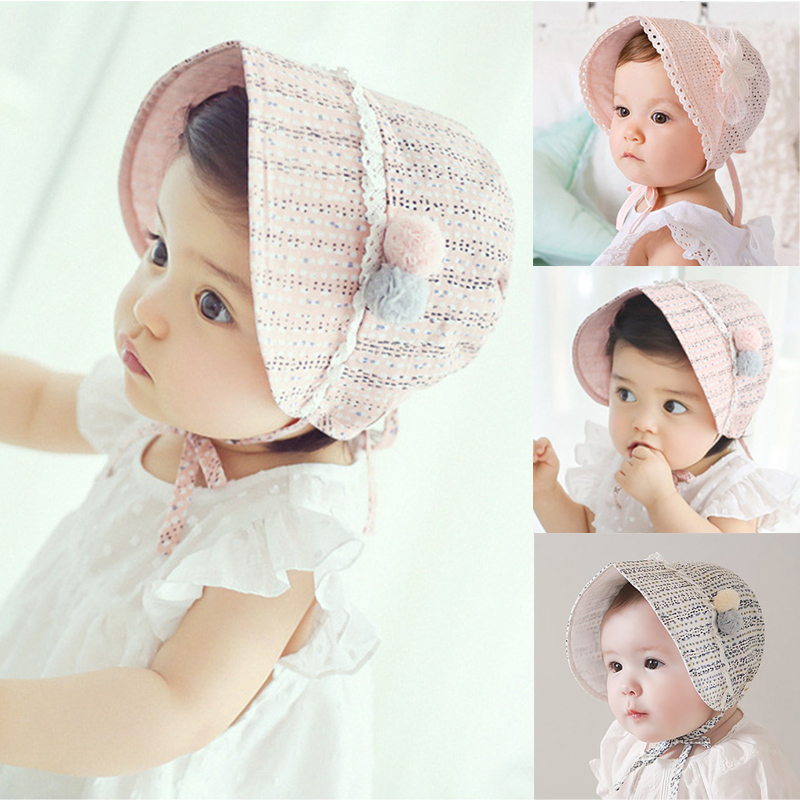 2016 New Fashion Summer Baby Girl Sweet Lovely Princess Hat Beanie Children Kids Pink White Lace Floral Cap Hats gorras bonnet chain