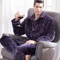 2016 Мужские Пижамы Мужские Пижамы Pijamas Pijama Hombre Invierno Три Толстый Зимний Мужчины Клип Коралловый Стеганые Костюм Дом