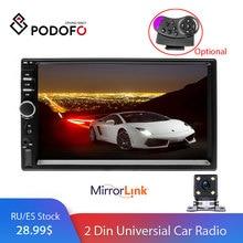 """Podofo 2 din Auto Radio Lettore Multimediale Autoradio Stereo 7 """"Bluetooth 2din Auto audio Video MP5 USB FM Universale macchina Fotografica di Backup"""