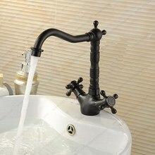 цена на Antique Brass Dual Handles Swivel Bathroom Kitchen Sink Vessel Sink Faucet Basin Mixer Tap asf089