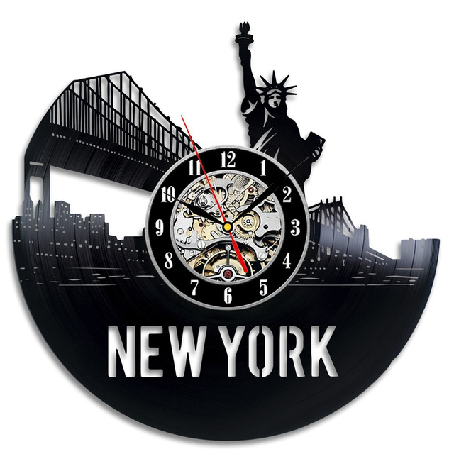 2017 New CD Vinyl Record Wall Clock Statue Of Liberty Souvenir Theme Wall Watch Modern City Art Horloge Murale Classic  Decor