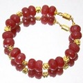 Natural Stones Jewelry Vintage Classic Fabulous Rubies Beaded Bracelet for Women( length 22cm )