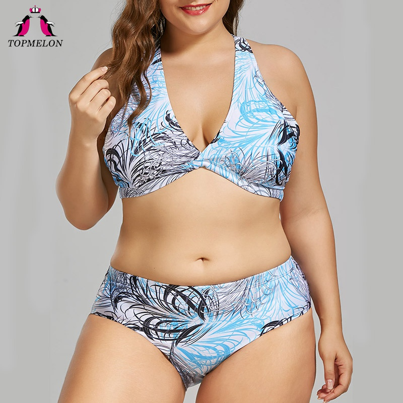 TOPMELON Bikini Set 2018 New women Plus size Swimwear Plant print Swimsuits for women female Swimming Set Blue Beachwear 4XL