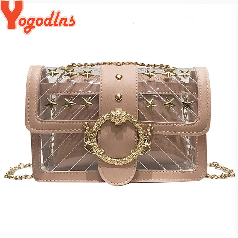Yogodlns Transparent Jelly Bags New High Quality Mother PVC Bag Womens Chain Rivet Shoulder Bags Small Summer Messenger BagsYogodlns Transparent Jelly Bags New High Quality Mother PVC Bag Womens Chain Rivet Shoulder Bags Small Summer Messenger Bags