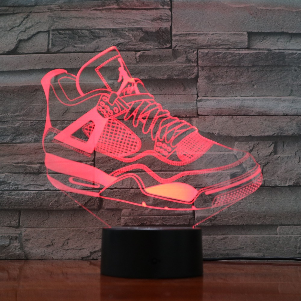 7 Colorful USB Sneaker Shoes 3D Illusion Lamp Kids Bedroom Sleep Light LED  Table Lamp Child Night Lights Party Gifts Drop Ship 618fae45c6e5