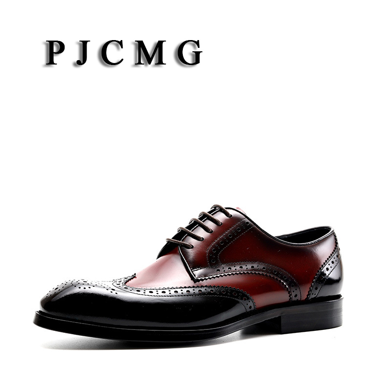 PJCMG Fashion Spring Autumn Luxury Black Red Genuine Leather Lace Up Buckle Pointed Toe Dress Business