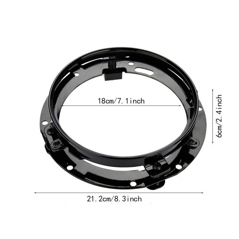 2Pcs Headlight Bracket For Jeep Wrangler, 7 Inch Auto Car Headlight Mounting Bracket Aluminum Alloy Round Ring Bracket(Black)