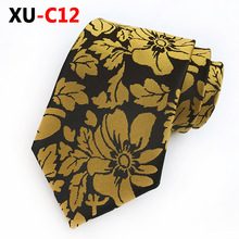 2018 New Silk Jacquard 8cm Tie Gold Big Flower Necktie Warm Color Makes You Full of Passion
