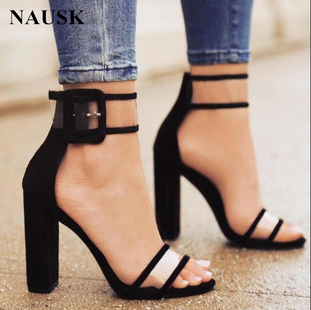 NAUSK <font><b>2018</b></font> shoes Women Summer Shoes T-stage Fashion Dancing High Heel <font><b>Sandals</b></font> <font><b>Sexy</b></font> Stiletto Party Wedding Shoes White Black image