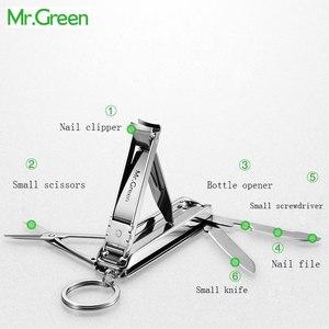 Image 3 - MR. GRÜNEN Multifunktions nail clipper edelstahl gürtel finger datei ring finger schere gürtel flasche opener zange scissorss
