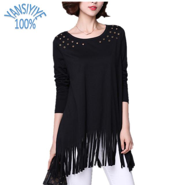 Elegante femenina Camiseta Mujeres de Gran Tamaño Tops Loose 4XL Largo Harajuku manga de la camisa Femenina de La Borla de Hem Mujeres Caliente Negro Remache Tees
