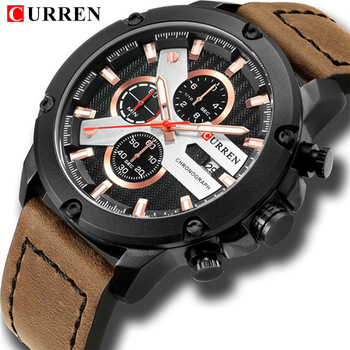 New Watches For Men Luxury Brand CURREN Chronograph Casual Sports Wristwatch Fashion Quartz Leather Business Waterproof Relojes дамски часовници розово злато