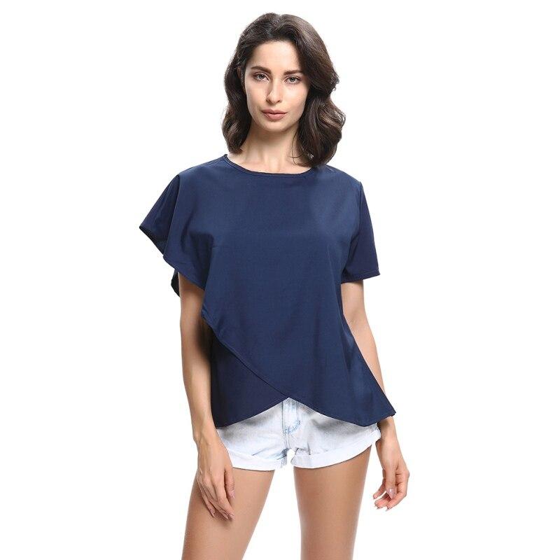 Women Summer Irregular Tops Female Short Sleeve Blouse Plus Size Shirts Blouse Loose Shirt O-Neck Chiffon Blouse