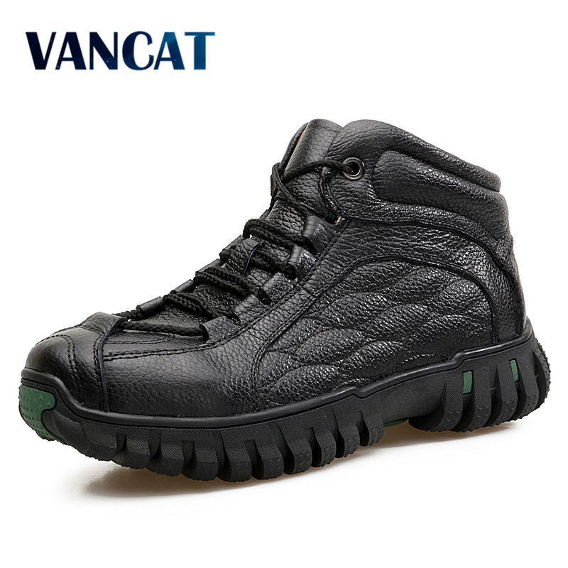 VANCAT Brand Men Boots Genuine Leather Winter Boots Warmth Fur Inside High Quality Outdoor Men Snow Boots Working Shoes Men winter men jacket new brand high quality candy color warmth mens jackets and coats thick parka men outwear xxxl