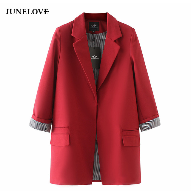 JuneLove 2019 women coat jacket autumn double pockets Long sleeve jacket coat S-XXXL plus size outwears
