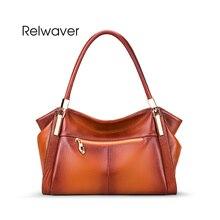 Relwaver women's real leather bags gradual color women leather handbags soft women's leather bag shoulder bag female women bag