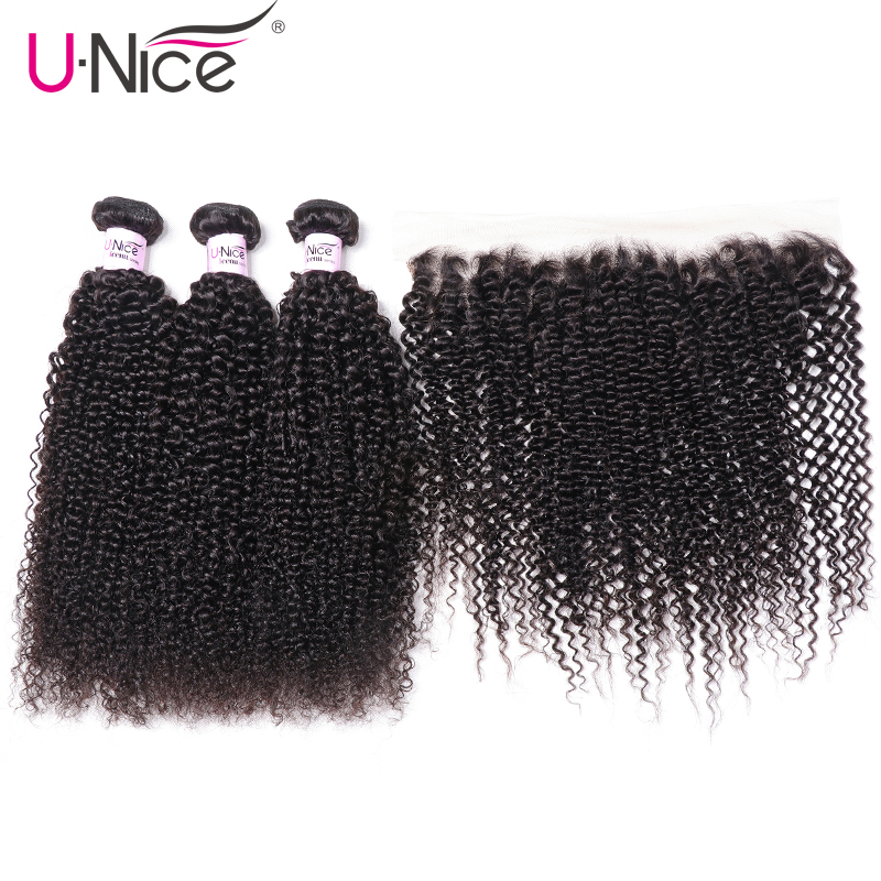 UNice Hair Brazilian Curly 3 Bundles With Lace Frontal Human Hair Kinky Curly Bundles With Closure