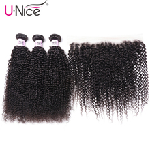 UNice Hair Brazilian Curly 3 Bundles With Lace Frontal Human