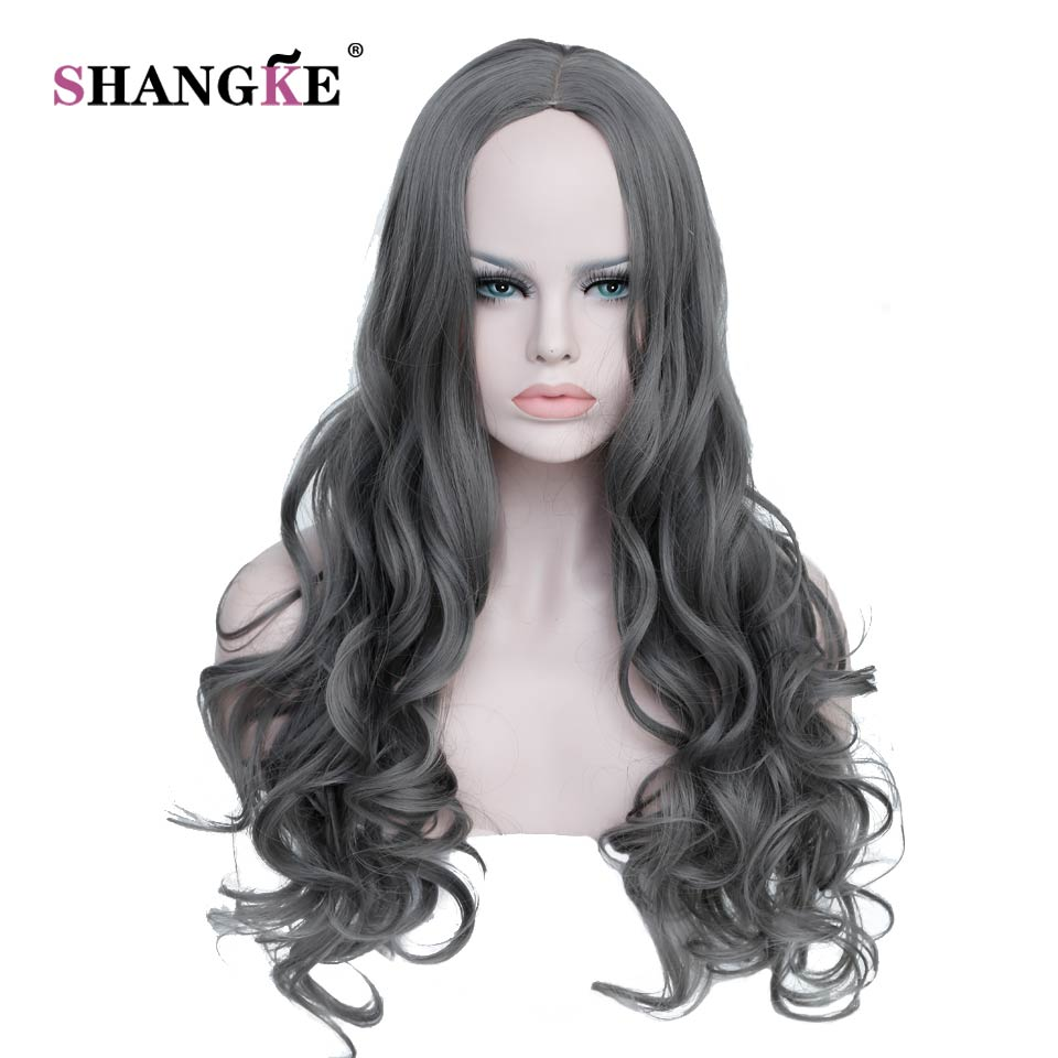 SHANGKE Long Wavy Hair Wigs Women Synthetic Gray Wigs For