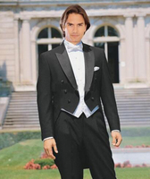 2018 Custom Tailored Black Suit White Waistcoat Tailcoat Clothing Pants Tie Vest Handkerchief 11