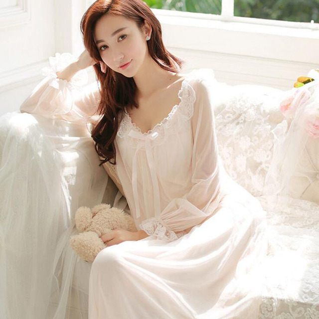 9e13df421a 2016 Autumn spring princess nightdress long sleeves palace retro sexy lace nightgown  ladies Goddess pajamas super soft beautiful