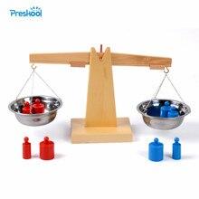 Brinquedo de madeira montessori, balança de pesagem para educação infantil sensorial, ótimo presente